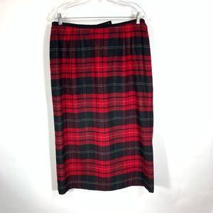 Talbots Wool Midi Skirt Red Black Plaid Large